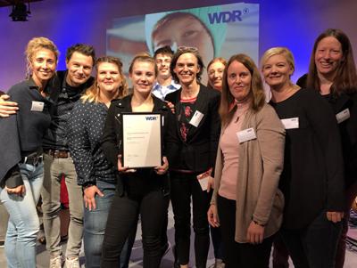 Delegation der Stiftung Ev. Jugendhilfe Menden nimmt am 23. September 2018 den WDR Kinderrechtepreis in Köln entgegen.